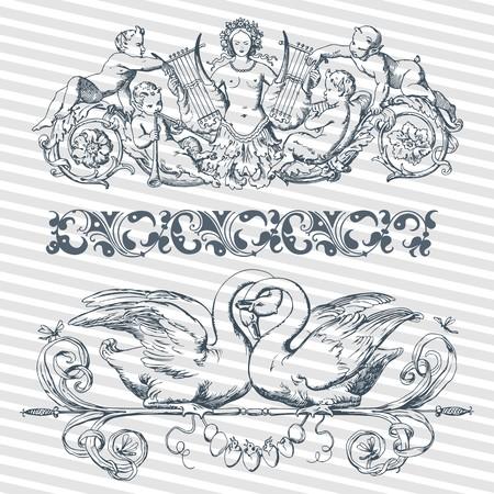 벡터 설정 골동품 바로크, 로마, 아랍어 스타일 장식 서 예 디자인에 레트로 장식 패턴으로 빈티지 화려한 프레임 일러스트
