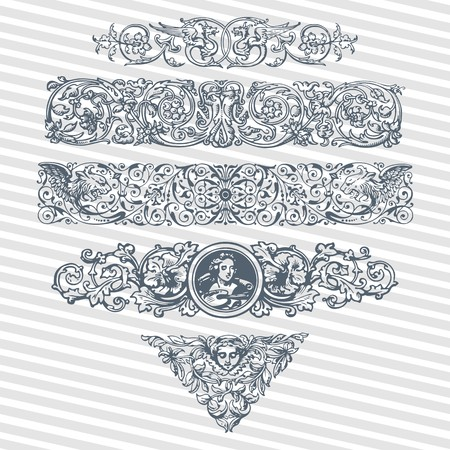 ベクトルは、アンティークバロック、ローマ、アラビアスタイルの装飾的な書道デザインでレトロな装飾パターンを持つヴィンテージ華やかなフレームを設定します 写真素材 - 94983062