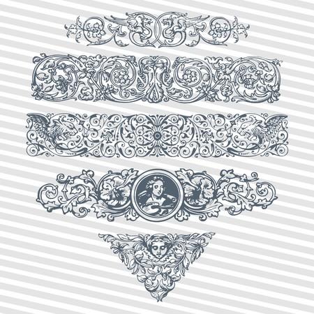 Vector set vintage ornate frames with retro ornament pattern in antique baroque, roman, arabic style decorative calligraphy design Çizim
