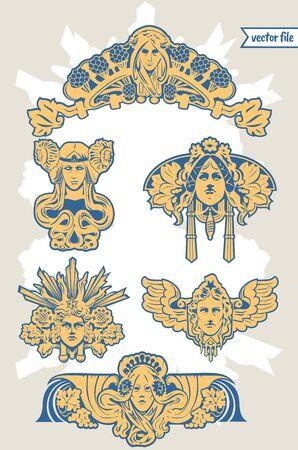 ベクトルイラストと装飾マスカロンヘッドフィギュアでアールヌーボービルの装飾要素