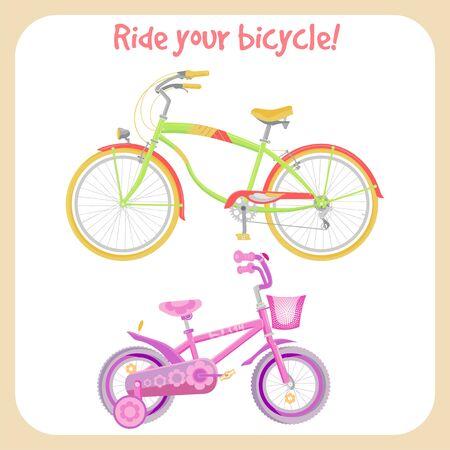 自転車セット孤立した背景にカラフルなベクトルイラスト