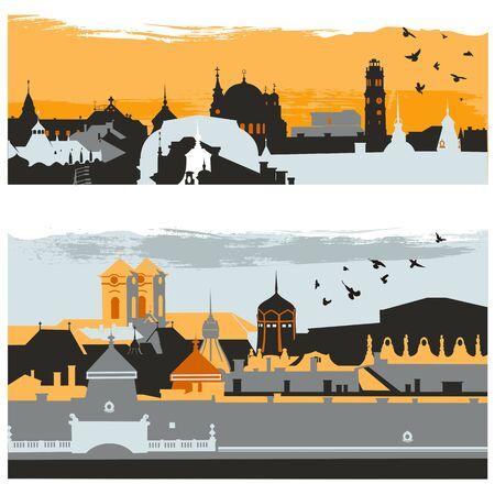 古典的な建物、塔や教会カラフルなベクトルイラストとヨーロッパの町の都市のシルエット