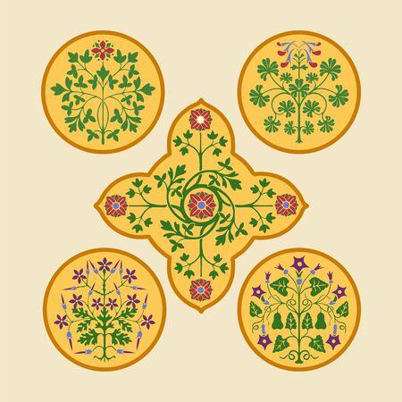 花柄の装飾要素カラフルなベクトルイラストパターン