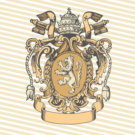 Vector illustration of classic heraldic design with coat of arms and knight helmet