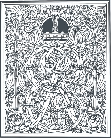Classic royal heraldic design with coat of arms and knight helmet vector illustration.