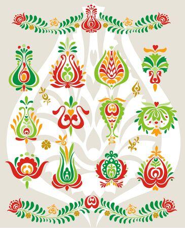 Floral vector ornament in eastern Europe ethnic folk fashion set.  イラスト・ベクター素材