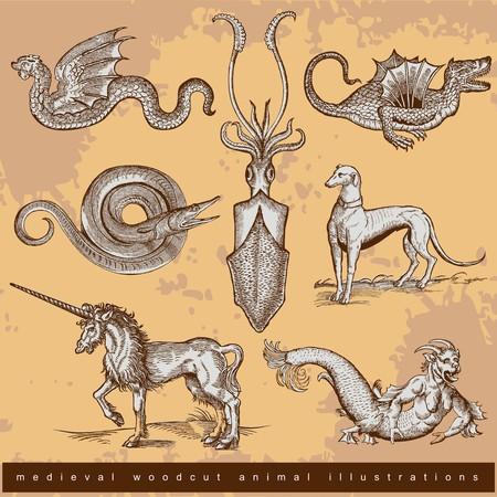 Medieval woodcut animal illustrations - set 1.