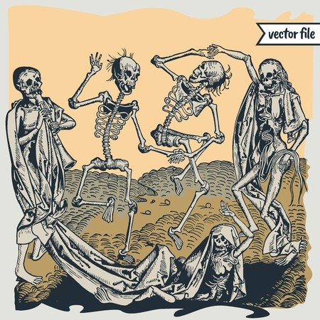 Medieval woodcut illustrations of the dance of death  イラスト・ベクター素材