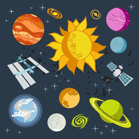 Outer space vector doodles, symbols and design elements, spaceships, planets, stars, rocket, sun, satellite.