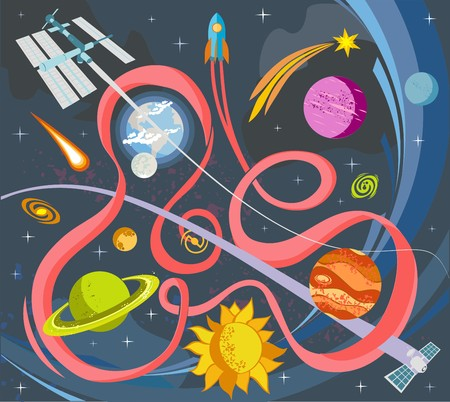 Outer Space Vector Doodles Symbols And Design Elements Spaceships