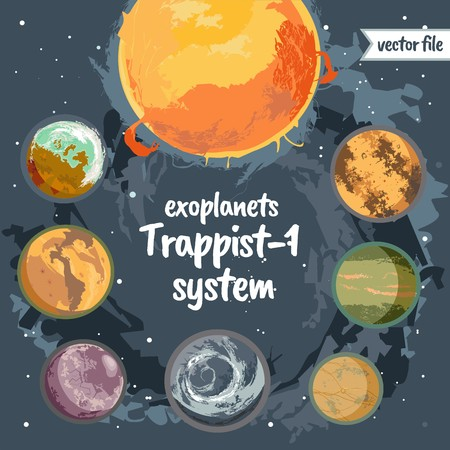 Planets system with exo planets, colorful vector illustrations.  イラスト・ベクター素材