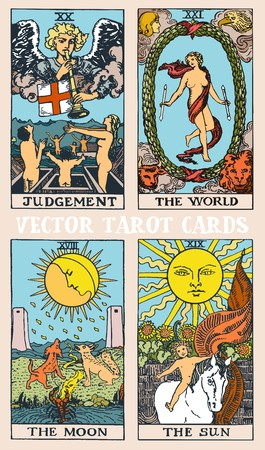 Tarot cards deck colorful vector illustration with magic and mystic graphic details
