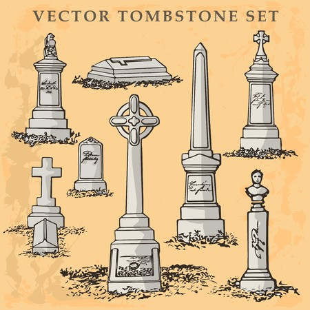 Tombstone and gravestone vector illustration with funeral design elements set.