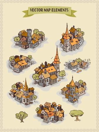 A Vector map elements, colorful, hand drawn settlement, city, village concept