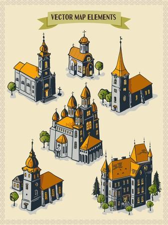 Vector map elements, colorful, hand draw - settlement, church, temple, castle