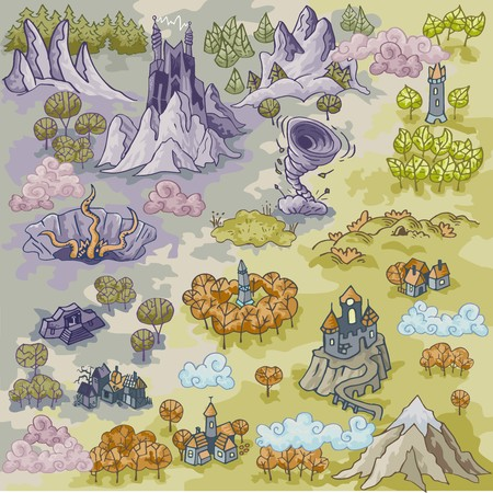 Fantasy Adventure map elements with colorful doodle hand drawn in vector illustration