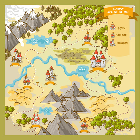 Fantasy Adventure map elements with colorful doodle.