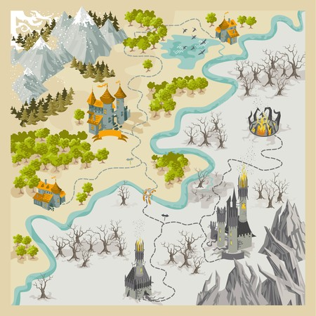 Fantasy Adventure map elements with colorful doodle hand draw in vector illustration - map2 Standard-Bild - 95197790
