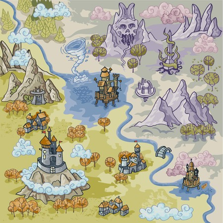 Fantasy Advernture map elements with colorful doodle.  イラスト・ベクター素材