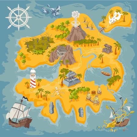 Vecteur carte éléments de fantasy pirate île en coloré illustration et dessinés à la main mystère bord Banque d'images - 95252030