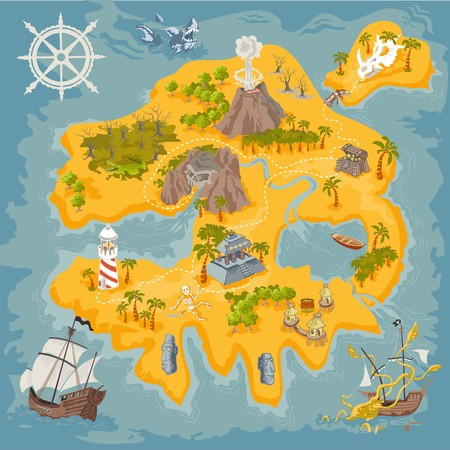 Vector map elements of fantasy pirate island in colorful illustration and hand drawn mystery realm
