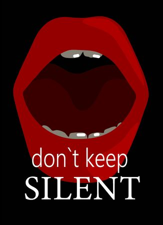 On a black background red lips and the inscription