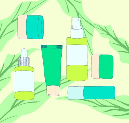 Banner or advertisement for cosmetic products or for skin care routine. Set of bottles and packaging of cosmetics with leaf on background. In fresh green tones. Immitation of hand drawn. Vettoriali
