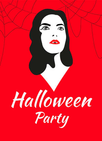 Vampire in noir graphic style and spider webs on the sides on a red background with the inscription halloween party. Suitable for invitations, posters, banners and posters