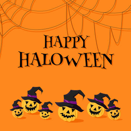 Jack Lantern pumpkin in wizard hats under the inscription Happy Halloween and spiderwebs. Vector images on a bright orange background with shadows.
