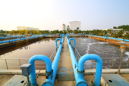 effluent: Part of the sewage treatment plant scene