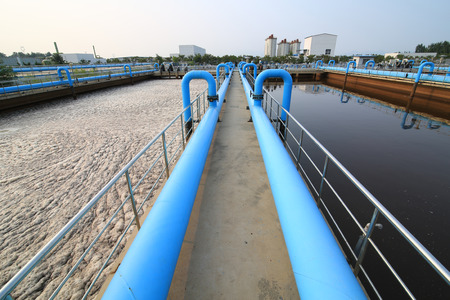 water ecosystem: Part of a waste water treatment scene Stock Photo