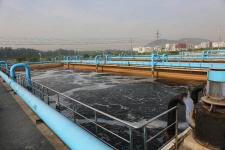 effluent: Part of a waste water treatment scene Stock Photo