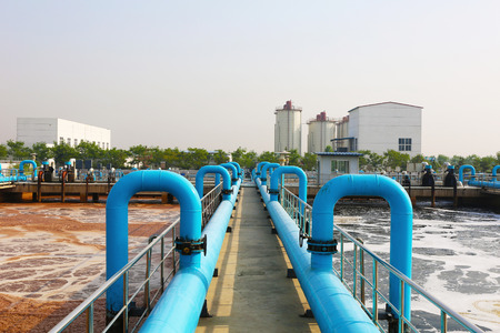 Water treatment tank with waste water with aeration process. photo