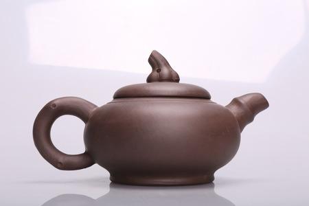 chinese tea pot: Black Purple Chinese Tea Pot Stock Photo
