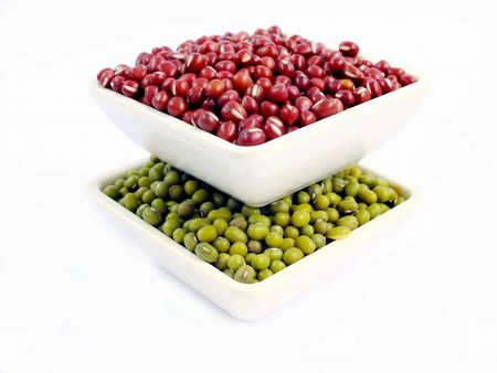 mung: mung beans and red beans Stock Photo