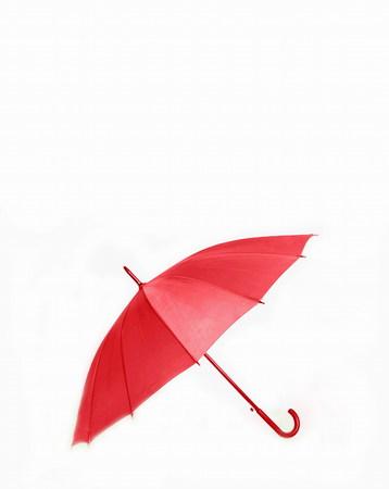 necessities: Studio shot,  red umbrella feature Stock Photo