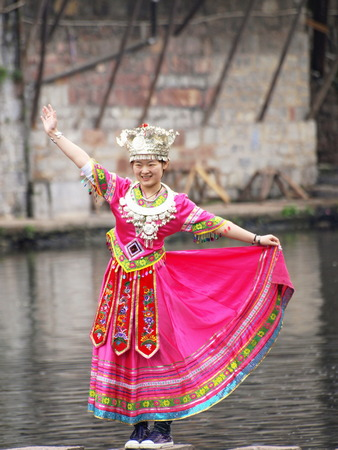 miao: Girl in Miaos traditional costume