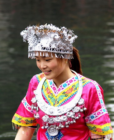 Girl in Miaos traditional costume