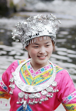 Girl in Miaos traditional costume