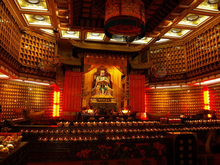 Statue of god of prosperity in Nanshan Temple Editorial