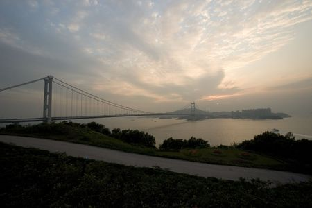 ma: Tsing Ma Bridge at dusk Stock Photo