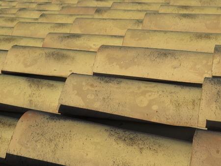 tiled: Tiled roof in a house mediterranenan
