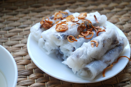 Banh cuon-vietnamese steamed rice rolls with minced meat. Stock Photo
