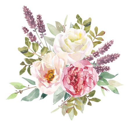 Watercolor flowers bouquet isolated on white background. Can be used as greeting card, invitation card for wedding, summer background, birthday and other holiday. Element for design