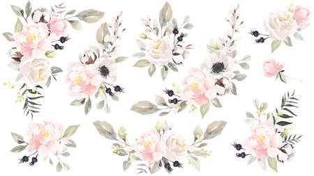 Big set of watercolor flowers bouquets. Illustration isolated on white background. Collection garden and wild,forest herb, flowers, branches. Perfect for wedding invitations, greeting cards, blogs, posters, summer background, birthday and other holiday.
