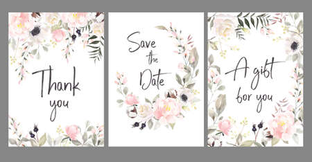 Set of watercolor hand painted green floral banner with green leaves, herbs, branches, wildflowers and berries.Arrangements with watercolor flowers. Illustration isolated on white background. Perfect for wedding invitations, greeting cards, blogs, posters, wrapping.Floral poster, invite.