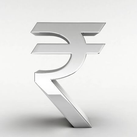 indian currency: Silver Indian Rupee symbol (3D rendering) Stock Photo