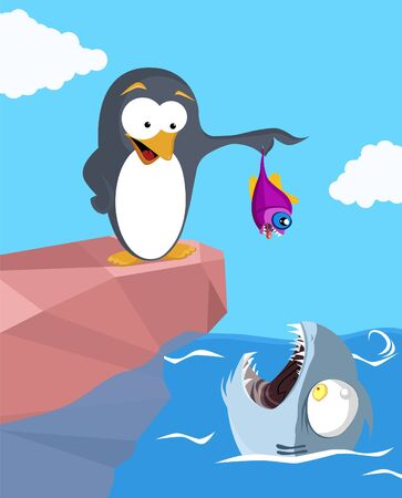 A cartoon illustration in which penguin standing on the rock cliff, offering small fish to deadly shark.  illustration