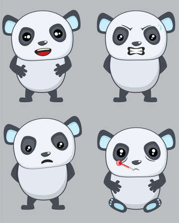 animal sad face: Four different expressions of a cute Panda