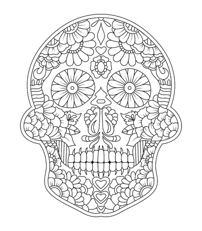 hand drawn mexican sugar skull with pattern on the face as isolated vector file Vettoriali